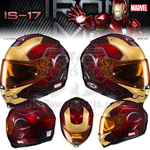 (HJC Helmets Marvel IS-17 Unisex-Adult Full Face IRONMAN Street Motorcycle Helmet (Red/Yellow, X-Large))