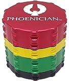 Phoenician Herbal Grinder - Medium 4 Piece - Rasta with 2 Rolling Paper Depot Doobtubes