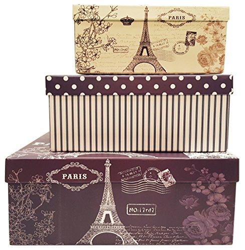 Alef Elegant Decorative Themed Nesting Gift Boxes -3 Boxes- Nesting Boxes Beautifully Themed and Decorated - Perfect for Gifts or Simple Decoration Around the House! (Paris)