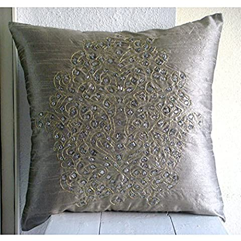 Silver Decorative Pillows Cover, Gold Crystals Damask