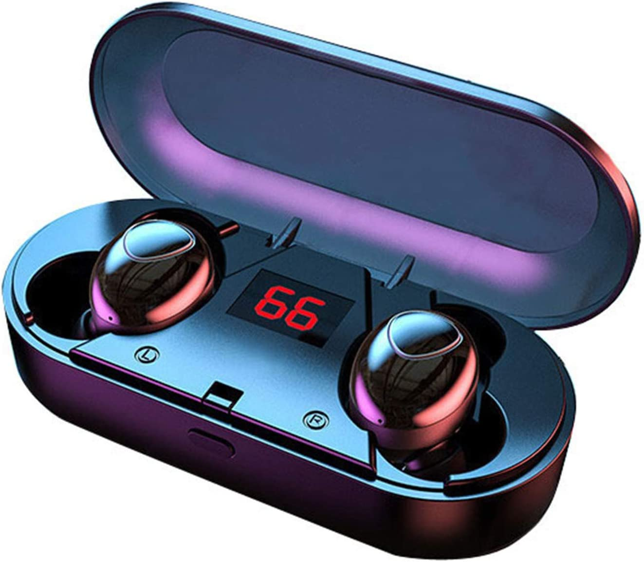 Sporthomer Wireless Headphones Bluetooth 5.1 with LED Display Charging Case, CVC 8.0 Noise Cancelling Headphones, TWS IPX7 Waterproof Bluetooth Earbuds Compatible with iPhone iPad Samsung Android