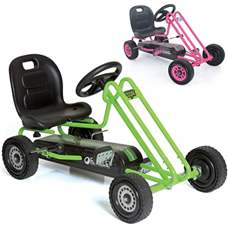 Hauck Lightning - Pedal Go Kart   Pedal Car   Ride On Toys For Boys & Girls  With Ergonomic Adjustable Seat & Sharp Handling - Race Green