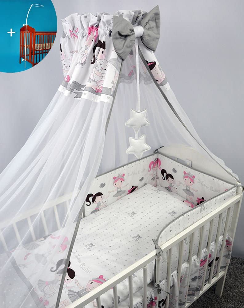 Chiffon Canopy//Tulle Drape 200x160cm White Metal Clamp Holder for Baby Cot Bed