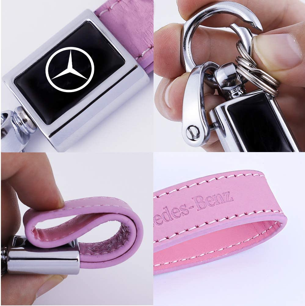 N//P Genuine Leather Key Chain Suit for Nissan Versa Sentra Altima Rogue Murano Frontier Pathfinder Titan Keychain Keyring Family Present,Accessories Pink