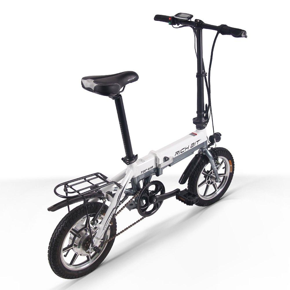 RICH BIT 618 電動アシスト自転車 14インチ 折りたたみ 36V*10.2AH/8AH 法律に合う 公道で走れます ミニ自転車 アルミ合金フレーム 泥除け付け 4色 B07DQMYFPZ ホワイト(10.2AHバッテリー) ホワイト(10.2AHバッテリー)
