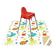 Splat Mat for Under Highchair/Arts/Crafts, Wo Baby Reusable Waterproof Anti-Slip Floor Splash Mat, Portable Play Mat and Table Cover (51 , Seaworld)