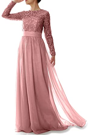 d573899bfb MACloth Women Lace Formal Party Evening Gown Long Sleeve Mother of Bride  Dress: Amazon.co.uk: Clothing