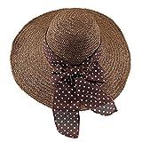 Mainstream Foldable Wide Brim Straw Summer Hats for Women Beach Sun Hat,Coffee,OneSize
