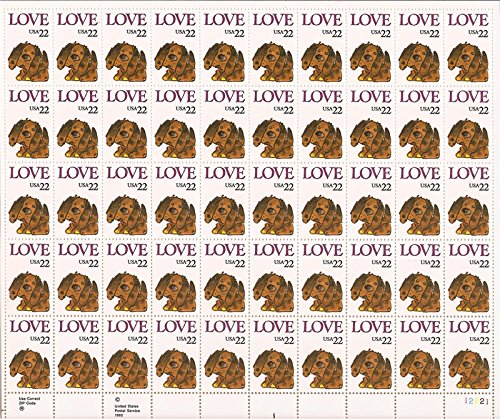 Love Dog Sheet of 50 x 22 Cent US Postage Stamps Scott 2202 By USPS ()