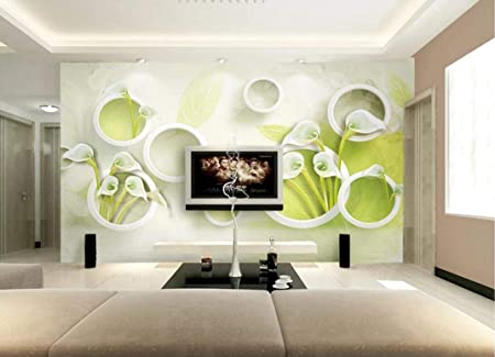 3d Wallpaper Fresh Green Circle Calla Lily Flower Modern Custom