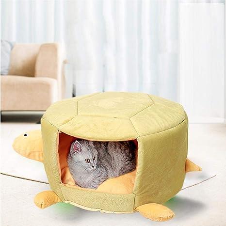 Funihut Cama para Perro Gato Tortuga en Forma de Coche réchauffement con cojín extraíble Cama para