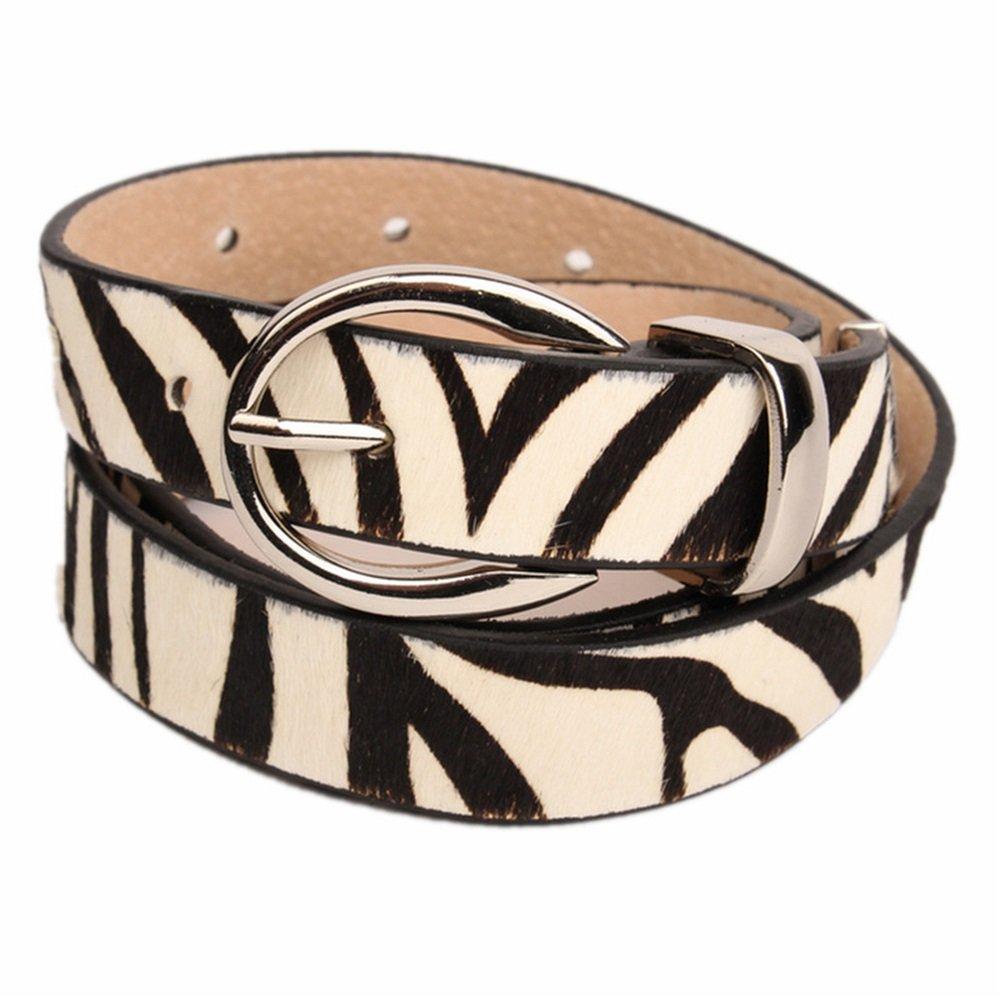 Yhjklm Cinturón Reversible de Cuero para Mujer Señoras de Cuero Genuino Cinturón de Caballo de Cebra Cebra de Cuero Fino Señoras Decoración Marea Femenina Ocio