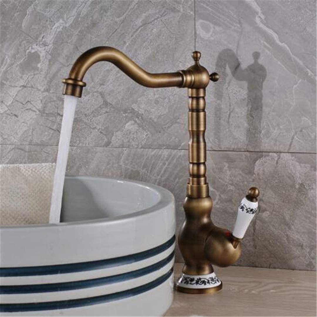 Eeayyygch Wasserhähne für Küche Badezimmer Wasserhahn aus massivem Messing mit Sngle-Griff,