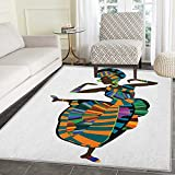 African Woman Area Rug Carpet Black Girl in a Traditional Dress Performing an Ethnic Dance Native Zulu Living Dining Room Bedroom Hallway Office Carpet 3'x4' Multicolor