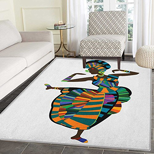 African Woman Area Rug Carpet Black Girl in a Traditional Dress Performing an Ethnic Dance Native Zulu Living Dining Room Bedroom Hallway Office Carpet 3'x4' Multicolor by smallbeefly