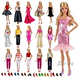 #3: Barwa Lot 15 items = 5 Sets Fashion Casual Wear Clothes/outfit with 10 Pair Shoes for Barbie Doll Xmas Gift