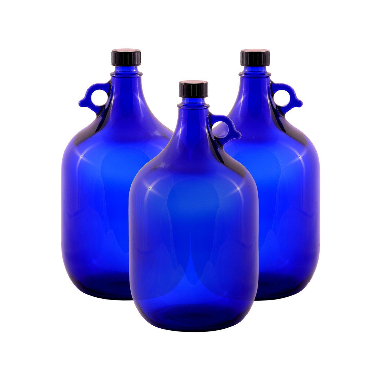 Vetro Ballon bottiglia gallone Blu 2/litri o 5/litro tappo a vite in plastica nera/ ideale per aquadea cristallo/ /vortice d/' acqua due litri o cinque litri /Maniglia Bottiglia Di Vetro Blu Vetro 1 x 2 Lite