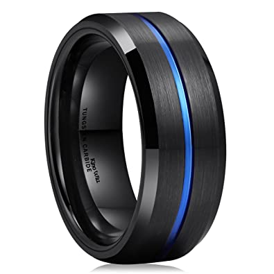 King Will Thin Blue Groove Black Brushed Tungsten Carbide Wedding Band Ring  Comfort Fit 6