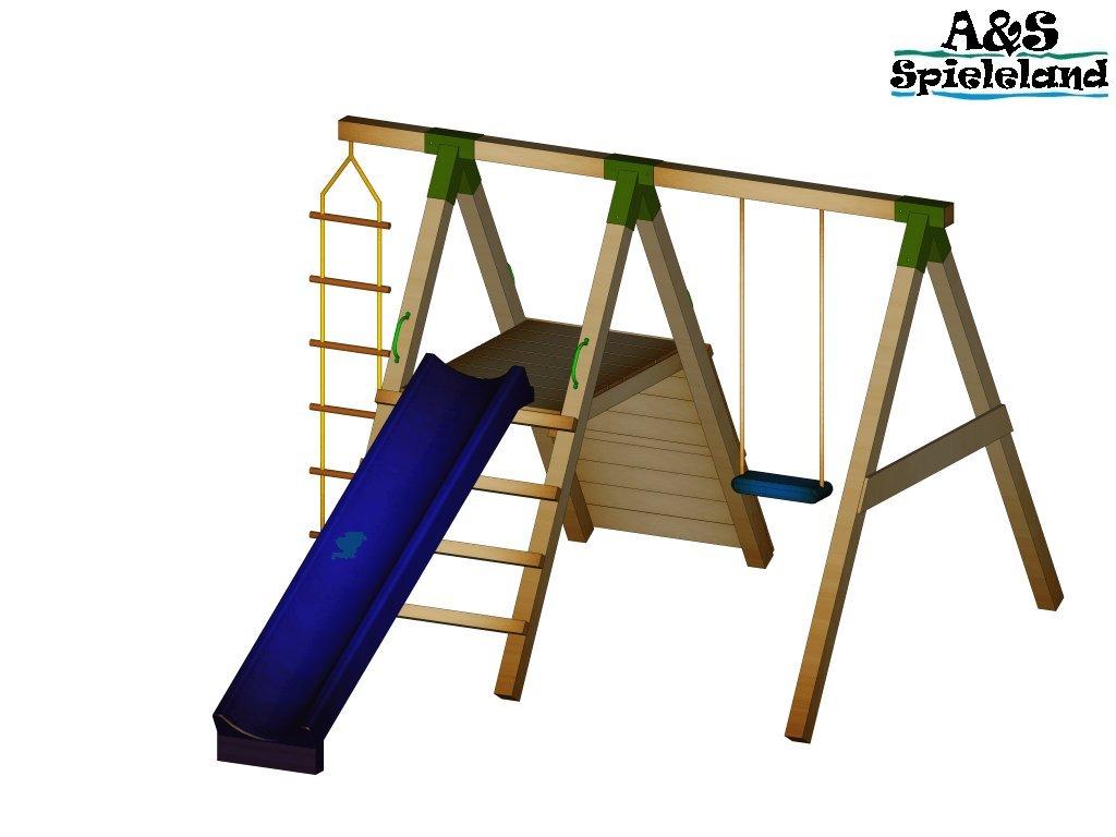 Spielturm JUNIOR 2.0 mit 2,4m Rutsche Kletterturm Schaukel 9x9 Postenstärke