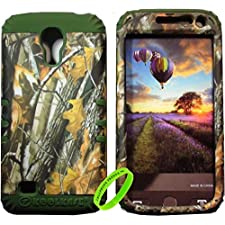 Cellphone Trendz High Impact Hybrid Rocker Case for Samsung Galaxy S4 Mini I9190 – Dark Green Silicone with Hard Hunter Camo Oak tree Big Branch Design