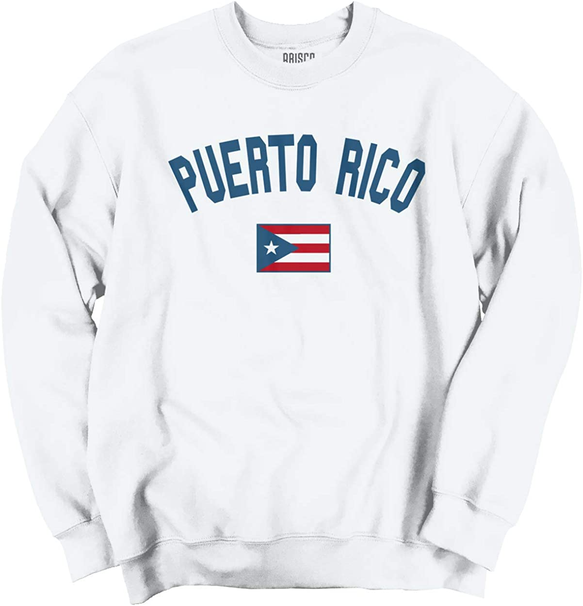 Boys Fit Long Sleeve Crew Neck Cotton Puerto Rico Flag Top for Youth