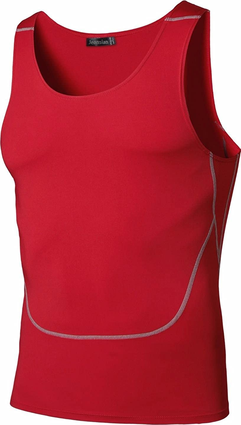 jeansian Mens Sport Breathable Compression Wicking Quick Dry Vest Tank Top SMF022