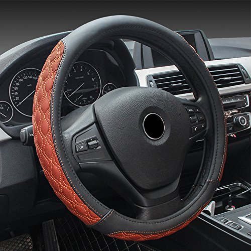 MKLOT Universal Fit Car Steering Wheel Cover - Genuine Leather Heavy Duty Thick Elegant Anti-Slip 37-39CM/15''Steering Wheel Cover - Black & Orange