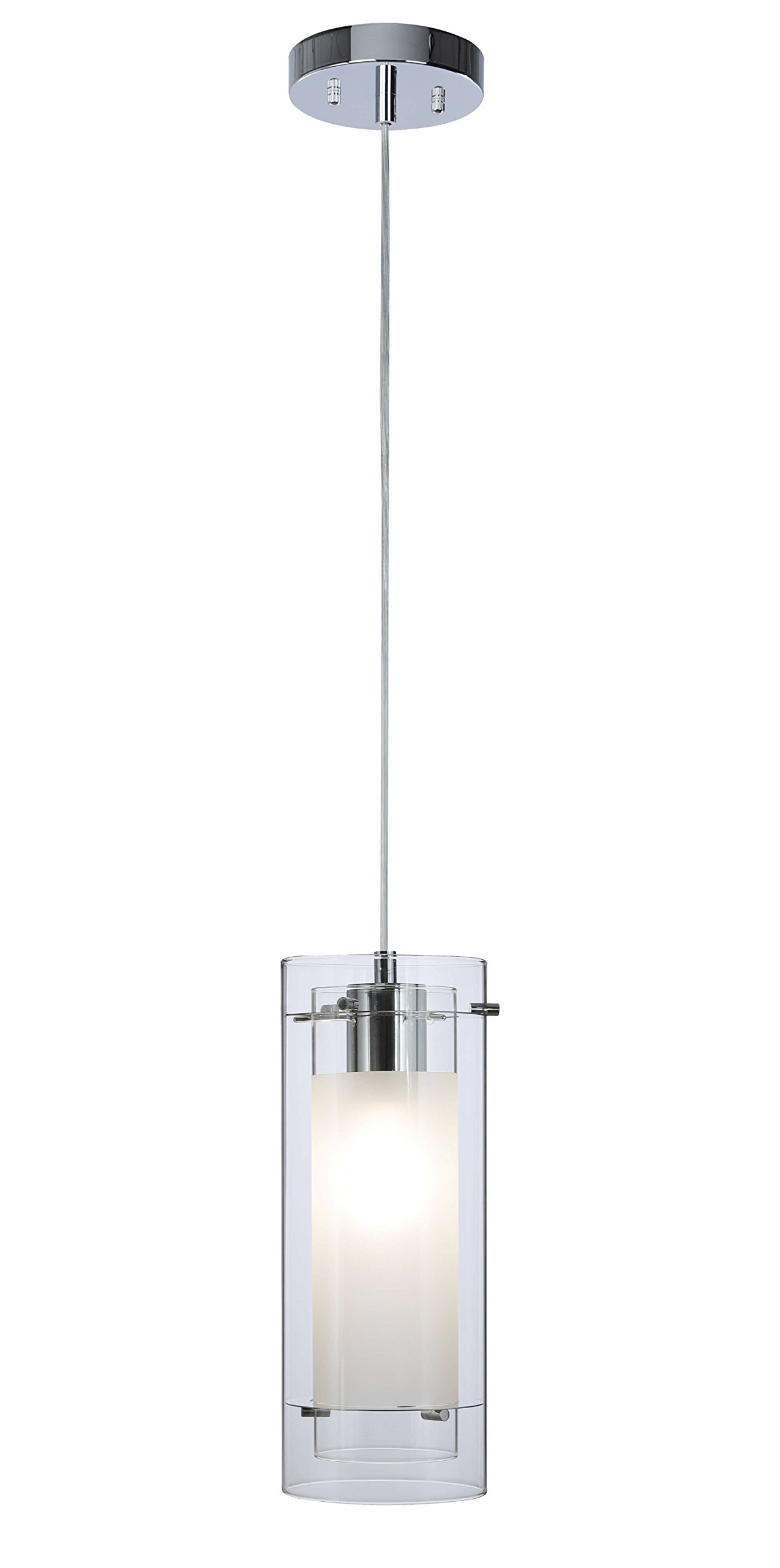 Pendant Lighting Contemporary 1 Light Pendant Hanging Light with Clear and Frost Glass in Chrome Mini Pendant Light XiNBEi-Lighting XB-P1159-CH