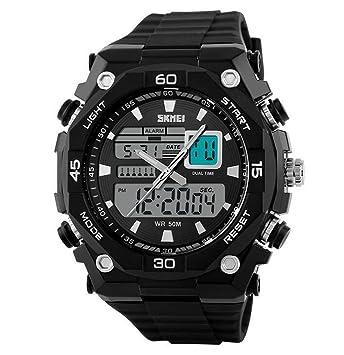 oumosi macho Military relojes de doble pantalla Digital LED relojes de pulsera de cuarzo: Amazon.es: Hogar