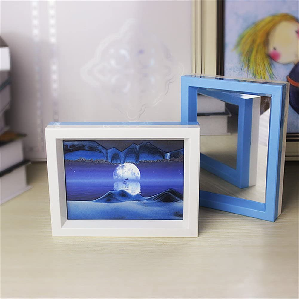 Queenie Moving Sand Picture Illusion Natural Scenery 2 Face Framed 3D Vision Desktop Art Sand Painting with Mirror