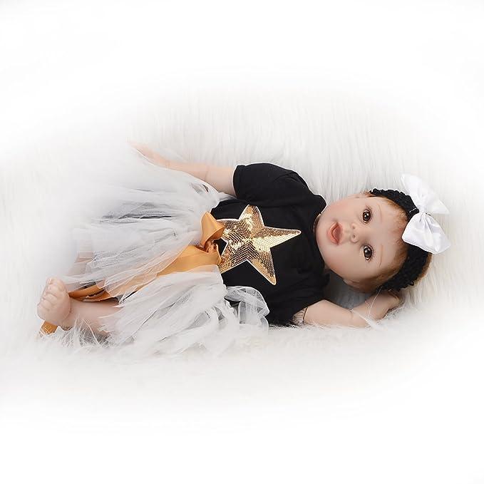 68d8ce357828 Muñecas y accesorios KEIUMI Realista Baby Doll Reborn Recién Nacido Que se  ve Real 22 Pulgadas Realista Silicona Suave ...