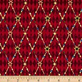 Penny Rose Joyous Christmas Sparkle Diamond Red Fabric By The Yard