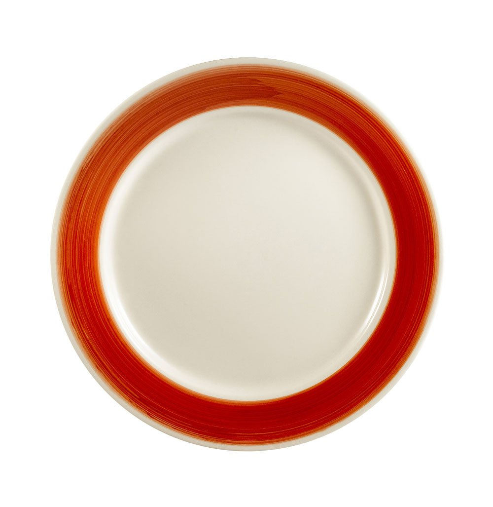 CAC China R-5-RED Rainbow Rolled Edge 5-1/2-Inch Red Stoneware Round Plate, Box of 36