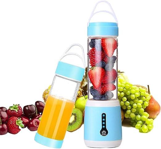 Licuadora personal, Juicer portátil eléctrico USB con 6 cuchillas, licuadora de alta capacidad recargable de 480 ml, fruta, hielo, verduras, máquina mezcladora (azul ...