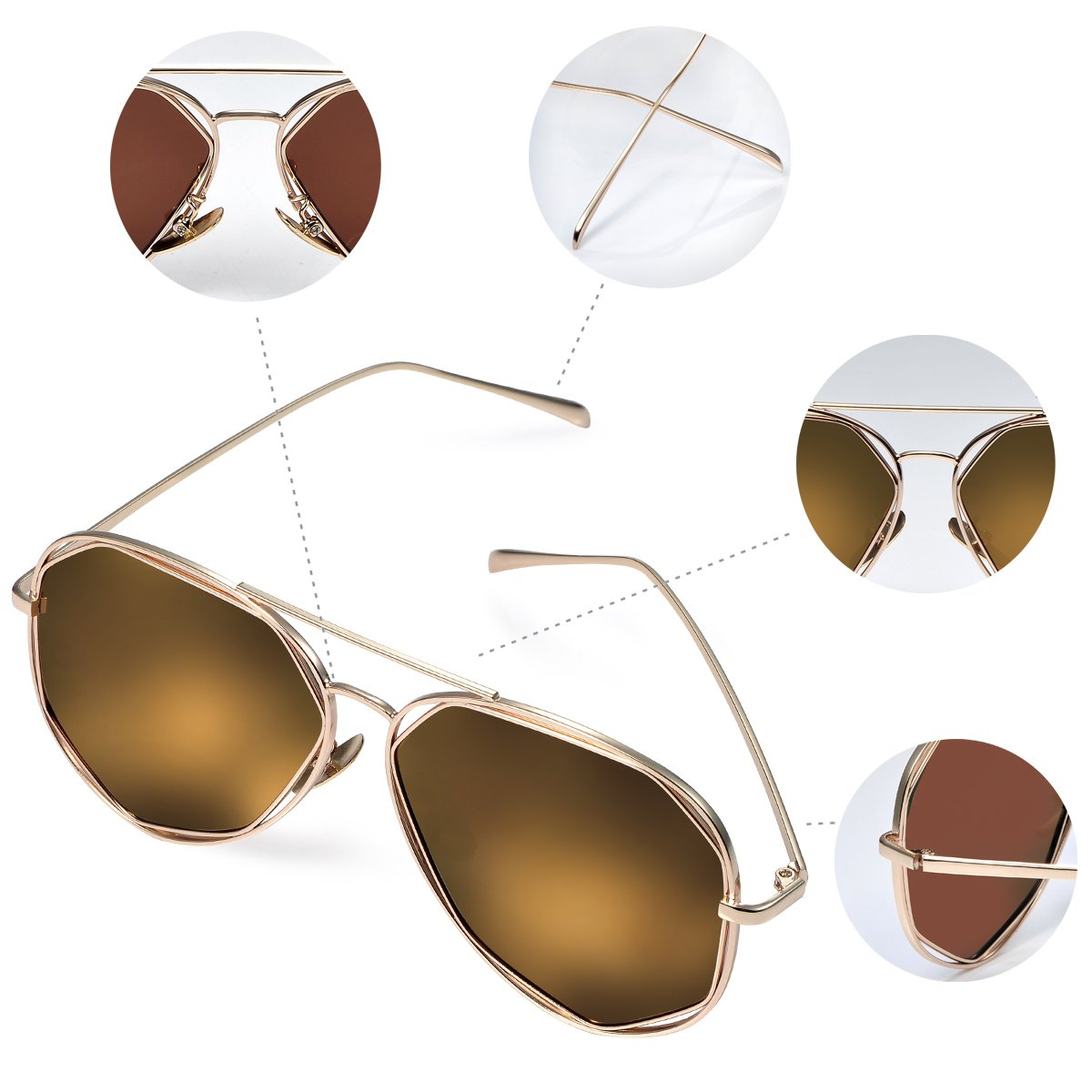 df064578f5559 Duduma Polarised Fashion Aviator Sunglasses with Flat Lens Metal Frame for  Women and Men 0713 (Gold frame with gold mirror lens)  Amazon.co.uk   Clothing