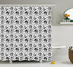 Manly Shower Curtain By Ambesonne Pattern With Skulls Wearing Helmets Bone Bikers Repair Shops Services Art Fabric Bathroom Decor Set Hooks