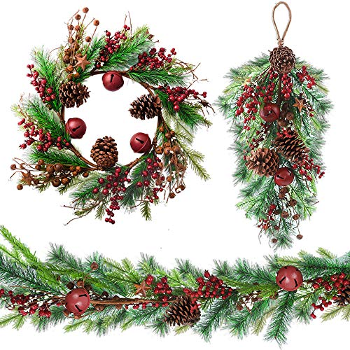 House Ornament Wreath (HOLICOLOR 3Pack Christmas Garland, Artificial Wreath with Christmas Door Hanging Ornament, for Holiday Decoration, House Decoration, etc.)