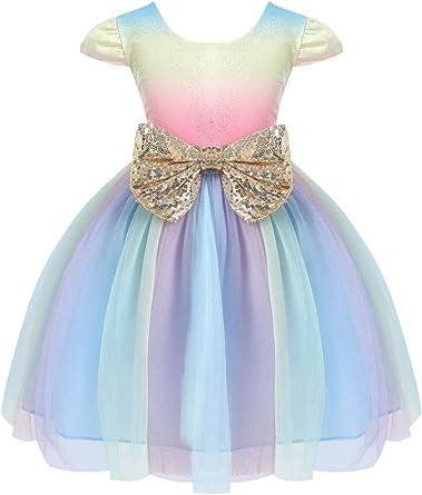 JerrisApparel Flower Girls Sequin Dress Rainbow Tutu Birthday Party Dress Pageant Gown