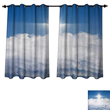 Amazoncom Anzhouqux Blue And White Blackout Curtains Panels For