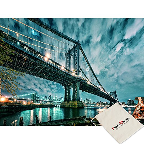 Sticker Reatail Aurora On The Brooklyn Bridge - Mathias Hacker - 1000 Piece Jigsaw Puzzle [Pouch ()