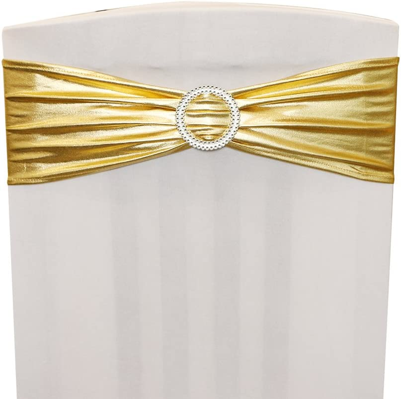 Metallic Gold Thickened Ymeibe 15 PCS Chair Sashes Bows Spandex Stretch Chair Bands with Buckle Elastic Chair Cover Sashes for Wedding Party Banquet Chair Decoration