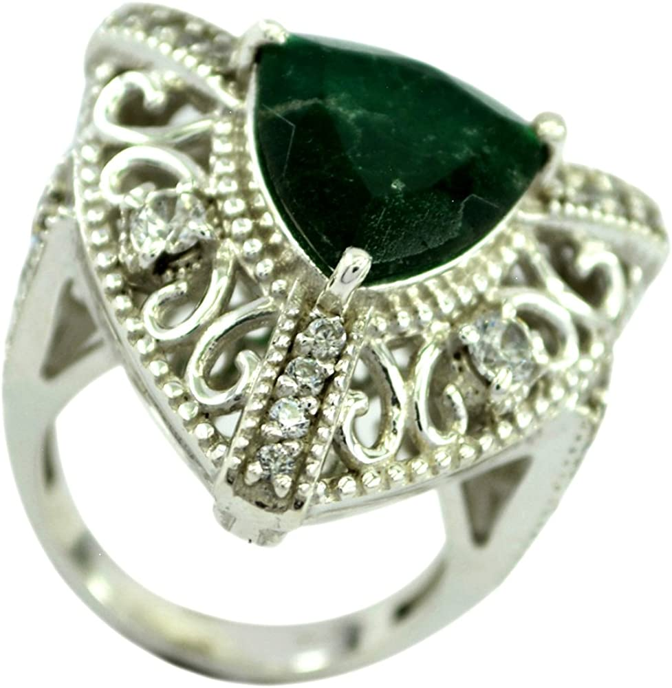 Emerald CZ Gold Plated Ring For Women Gift Birthstone Round Shape Prong Setting Size 5,6,7,8,9,10,11,12