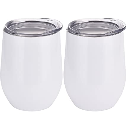 9e669fc36d6 Amazon.com | Skylety 12 oz Double-insulated Stemless Glass, Stainless Steel  Tumbler Cup with Lids for Wine, Coffee, Drinks, Champagne, Cocktails, ...