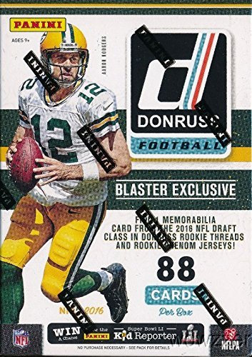 2016 Donruss NFL Football Blaster Box - This Box Contains 11 Packs With 8 Cards Per Pack - Look For Blaster Exclusive Rookie Phenom Jersey Cards