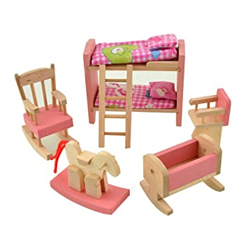 Amazon.es: wdyjmall madera conjunto de muebles para casa de muñecas ...