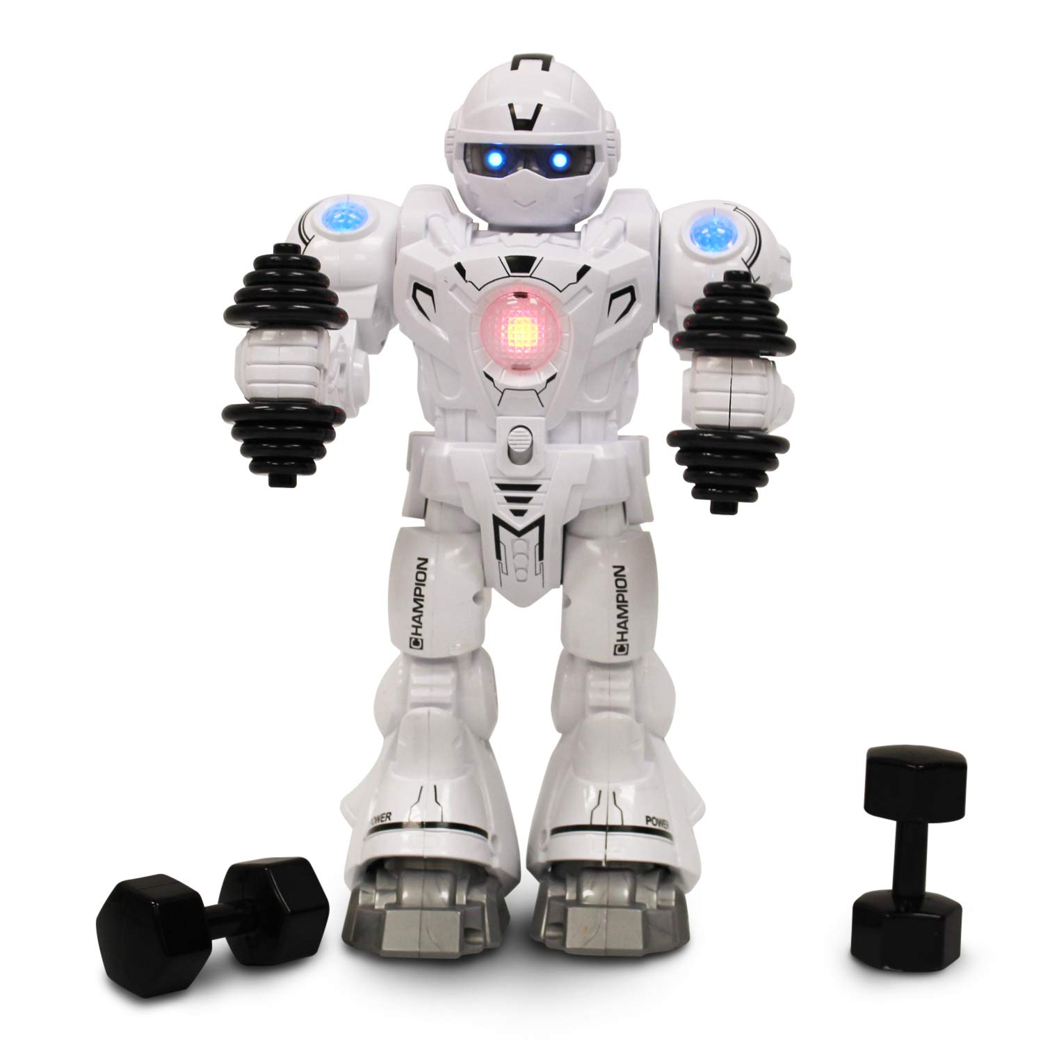 Athletic Robot for Kids RC Intelligent Robot Walks Does Push Ups Biceps Exercises with LED Lights on Head Arms Chest Workout Music for Kids Entertainment White