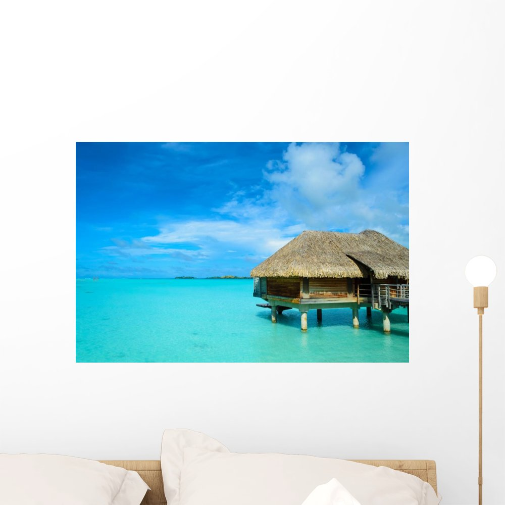 Wallmonkeys Luxury Thatched Roof Honeymoon Wall Mural Peel and Stick Graphic (24 in W x 16 in H) WM306180