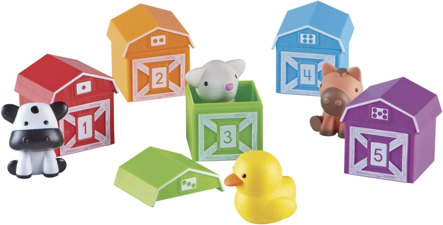 Learning Resources Peekaboo Learning Farm, Counting, Matching & Sorting Toy, Toddler Finger Puppet Toy, 10 Piece Set, Ages 18 mos+