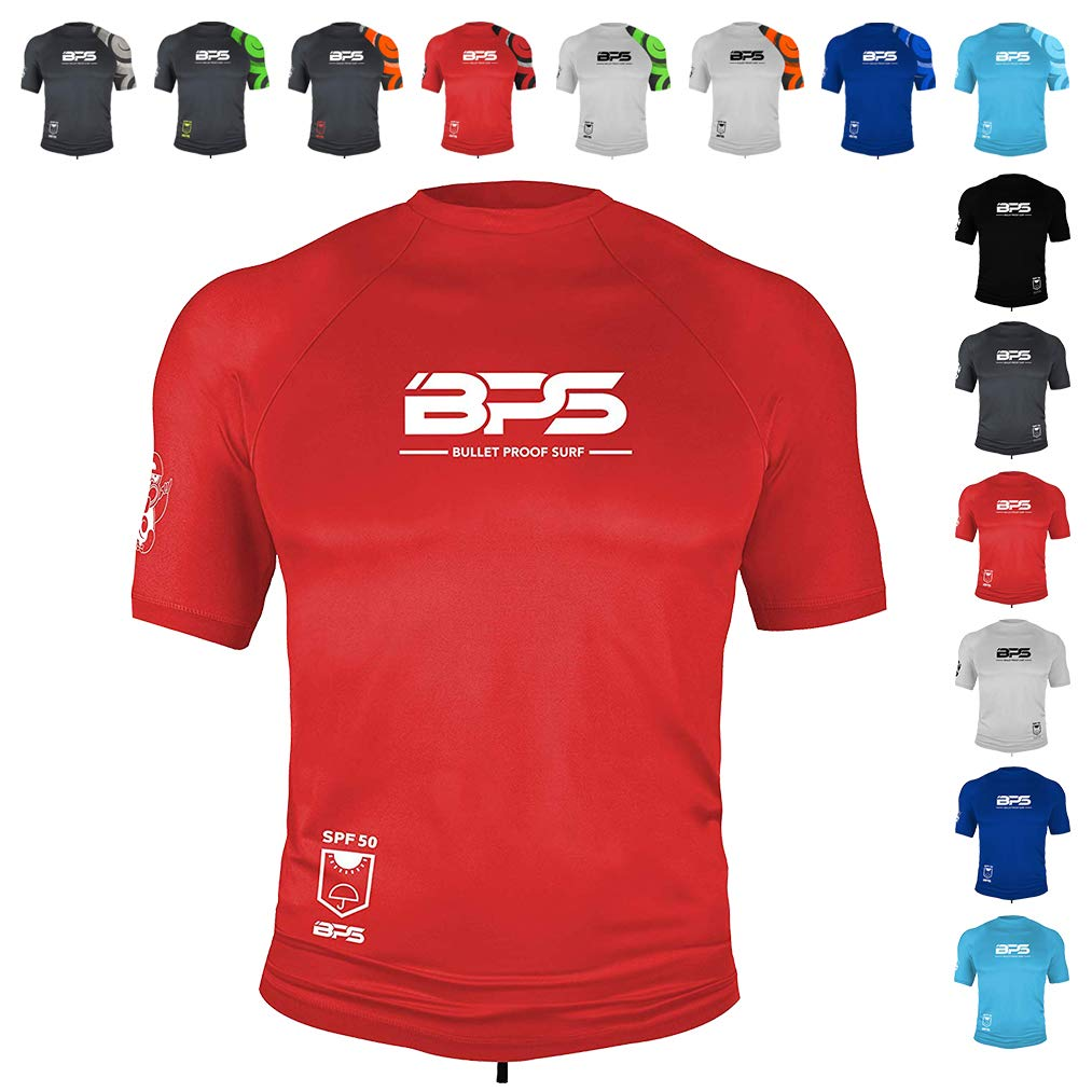 BPS Mens Short Sleeve Quick Dry Rash Guard 50+ UPF - Red, S by BPS