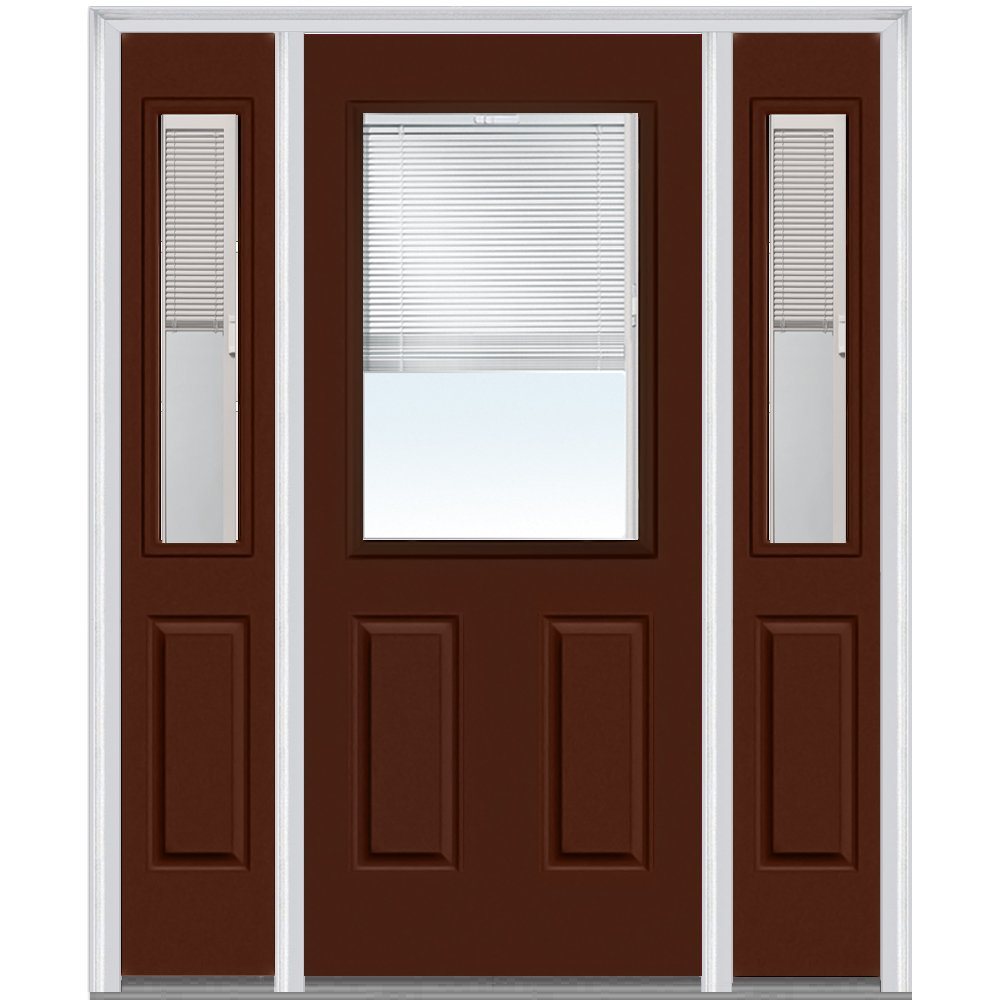 National Door Company Z010159L Steel Redwood, Left Hand In-swing, Prehung Door, 1/2 Lite 2-Panel, Clear Glass with RLB, 36'' x 80'' with 12'' Sidelites